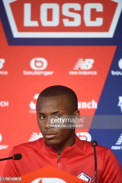 New Losc Portugese defender Tiago Djalo looks on as he takes part in a press conference on August 7 at the Domaine de Luchin in Camphin en Pevele,...