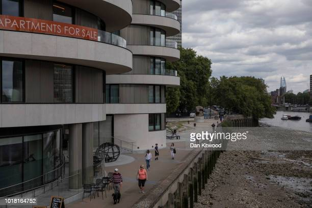 New luxury apartments wait to be sold along the River Thames near Vauxhall on August 17 2018 in London England Between 2001 and 2018 people living...