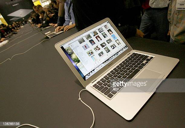 A new MacBook Air ultra thin laptop sits on display at the MacWorld Conference Expo in San Francisco 15 January 2008 MacBook Air measures 016 inches...