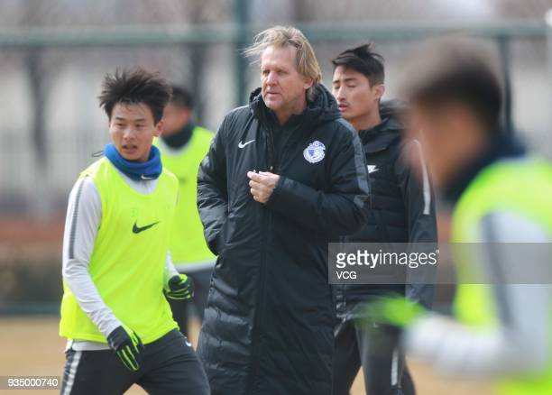 New manager Bernd Schuster of Dalian Yifang FC attends a training session on March 20 2018 in Dalian China