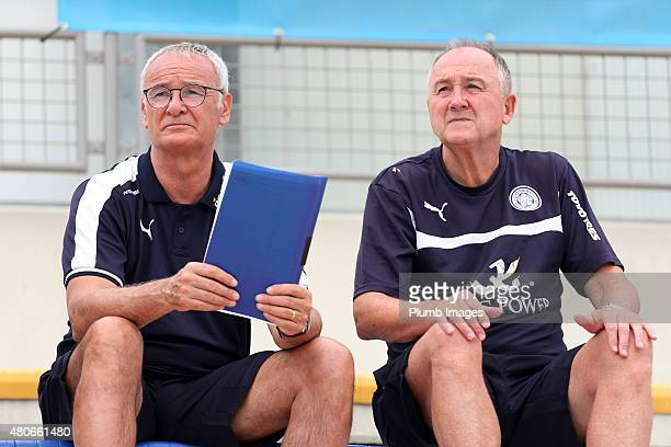 New manager Claudio Ranieri talks to assistant manager Steve Walsh during the Leicester City training session at their preseason training camp on...