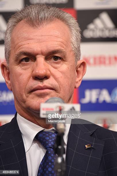 New Manager for Japan National Soccer Team Javier Aguirre speaks during a press conference upon arrival in Japan at the Grand Prince Hotel Takanawa...