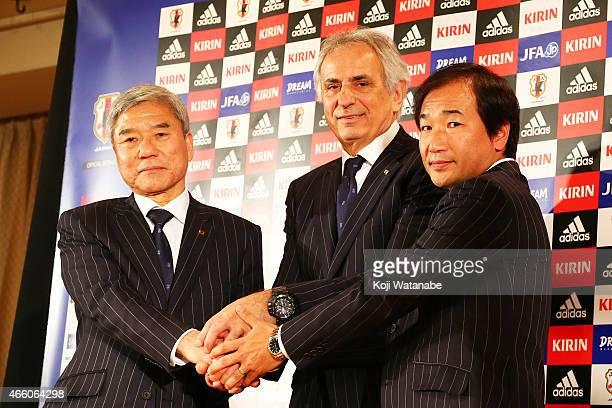 New Manager for Japan National Soccer Team Vahid Halilhodzic shakes hands with Japan Football Association president Kuniya Daini and JFA executive...