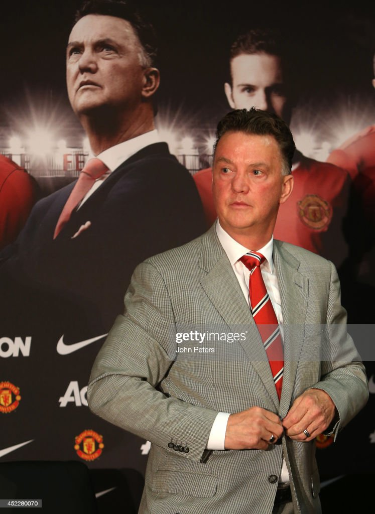 New manager Louis van Gaal of Manchester United arrives at a press conference to announce his arrival at Old Trafford on July 17, 2014 in Manchester, England.