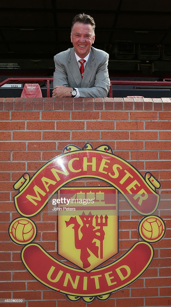 New manager Louis van Gaal of Manchester United poses after a press conference to announce his arrival at Old Trafford on July 17, 2014 in Manchester, England.