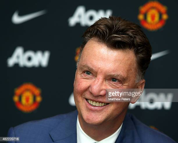 New manager Louis van Gaal of Manchester United poses as he starts his new role at Aon Training Complex on July 16 2014 in Manchester England