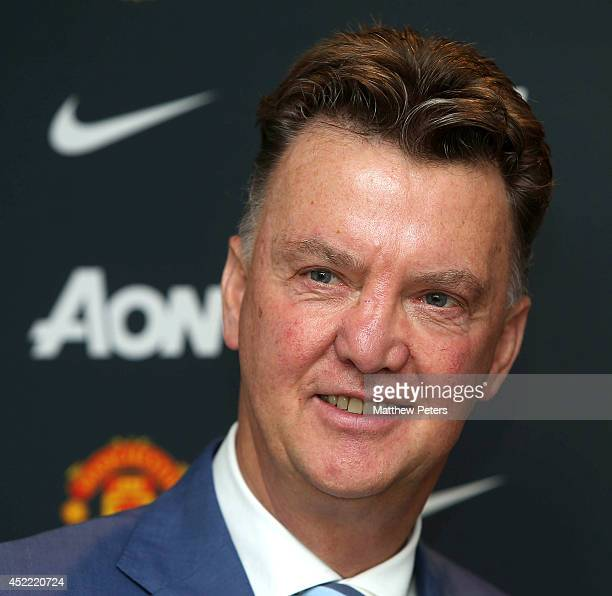New manager Louis van Gaal of Manchester United poses as he starts his new role at Aon Training Complex on July 16, 2014 in Manchester, England.