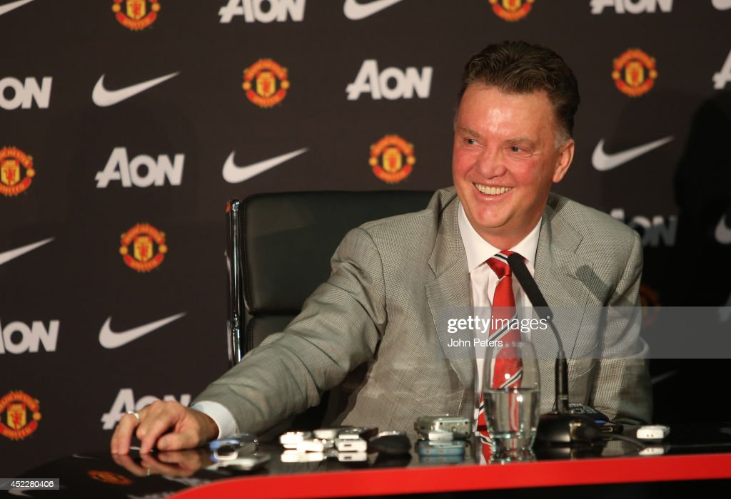 New manager Louis van Gaal of Manchester United speaks at a press conference to announce his arrival at Old Trafford on July 17, 2014 in Manchester, England.