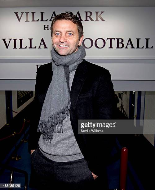 New manager of Aston Villa Tim Sherwood arrives before the FA Cup Fifth Round match between Aston Villa and Leicester City at Villa Park on February...