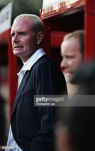 New manager Paul Gascoigne grits his teeth during the Nationwide Conference North match between Kettering Town and Droylsden at Rockingham Road on...