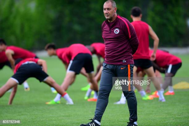 New manager Rene Lobello of Liaoning Whowin FC attends a training session ahead of the Chinese Super League 20th round matches on August 2 2017 in...