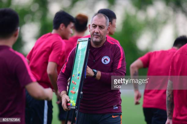 New manager Rene Lobello of Liaoning Whowin FC attends a training session ahead of the Chinese Super League 20th round matches on August 2, 2017 in...