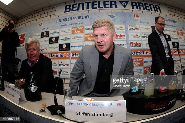 New Manager Stefan Effenberg of SC Paderborn during the press conference at Benteler Arena on October 14 2015 in Bielefeld Germany