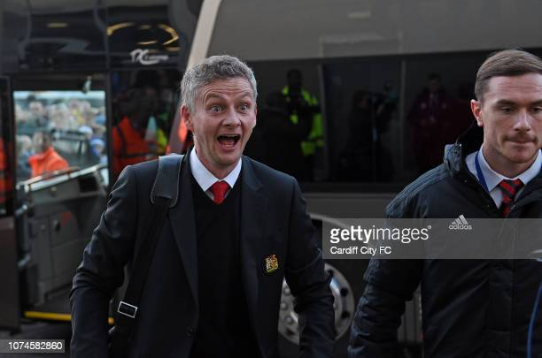 New Manchester United interim manager Ole Gunnar Solskjaer looks startled as he arrives at Cardiff City Stadium before the Premier League match...