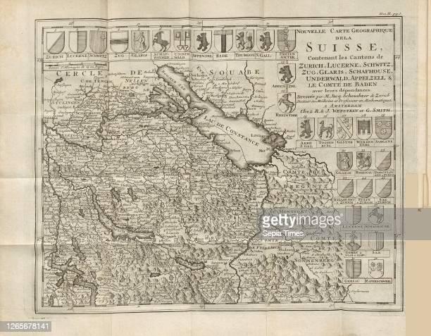 New map of Switzerland, Map of Eastern Switzerland with Lake Constance, Forntispiz Johann Georg Altmann: L'état et les délices de la Suisse, en forme...