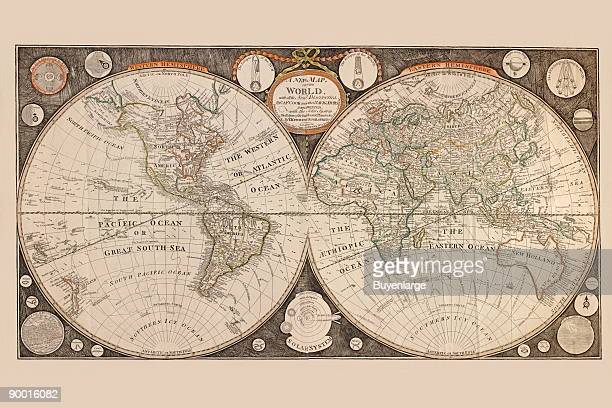 A new map of the world with all the new discoveries by Capt Cook and other navigators ornamented with the Solar System the eclipses of the sun moon...