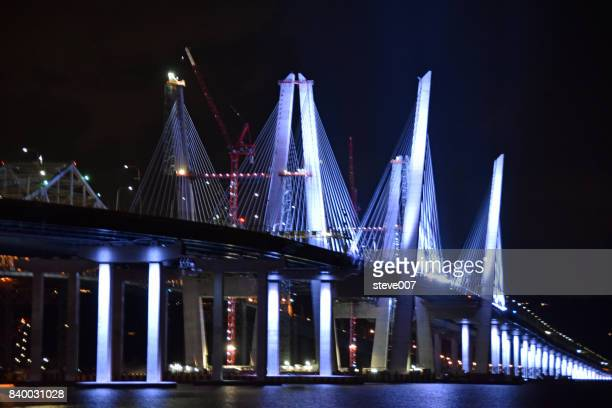 new mario m cuomo bridge in tarrytown ny - westchester county stock photos and pictures