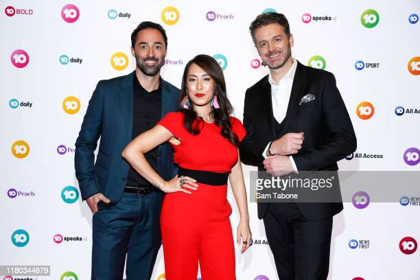 New Master Chef judges Andy Allen Melissa Leong and Jock Zonfrillo during the Network 10 Melbourne Upfronts 2020 on October 11 2019 in Melbourne...