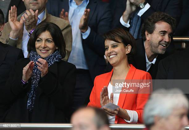 New Mayor of Paris Anne Hidalgo and French Minister for Women's RIghts and for Sports Najat VallaudBelkacem with Arnaud Lagardere above them attend...