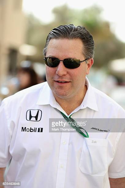New McLaren Executive Director Zak Brown walks in the Paddock during previews for the Abu Dhabi Formula One Grand Prix at Yas Marina Circuit on...