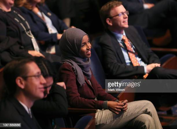 New memberelect Ilhan Omar attends a welcome briefing sponsored by the the House Administration Committee on Capitol Hill November 15 2018 in...