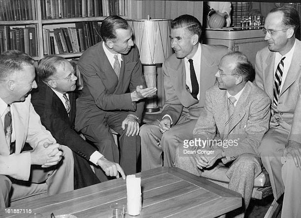 JUL 18 1951 New members of the Colorado chapter of Sigma Delta Chi professional journalism fraternity gather with Willard Simms president and editor...