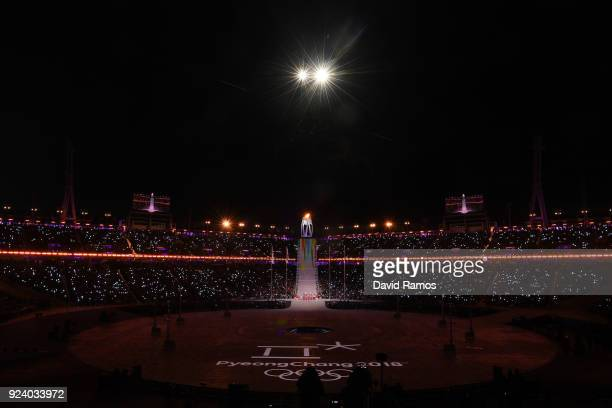 New members of the International Olympic Committee Athletes' Commission are introduced during the Closing Ceremony of the PyeongChang 2018 Winter...