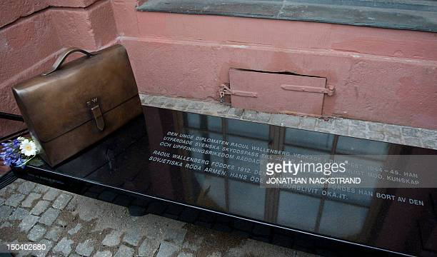 A new memorial to Raoul Wallenberg seen outside the Ministry for Foreign Affairs in Stockholm on August 16 2012 The memorial consists of a bench made...