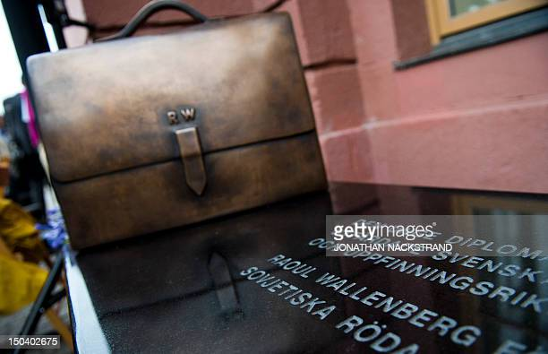 A new memorial to Raoul Wallenberg stands outside the Ministry for Foreign Affairs in Stockholm on August 16 2012 The memorial consists of a bench...
