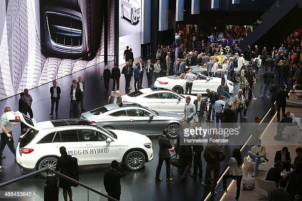 New Mercedes cars at the Mercedes stand at the 2015 IAA Frankfurt Auto Show during a press day on September 16 2015 in Frankfurt Germany The IAA...