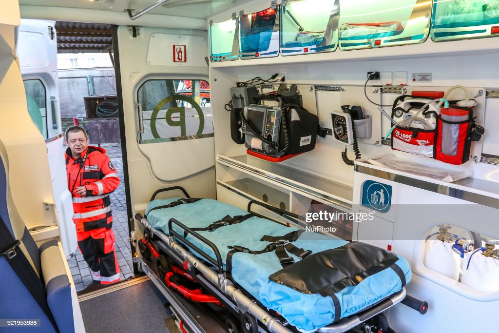 New Mercedes Sprinter ambulance interior with rescue stretcher, defibrillator and other medical equipment is seen in Gdynia, Poland on 21 February 2018 New Mercedes Sprinter ambulance costed over 100.000 Euro, and is 18th ambulance in the Gdynia Emergency Medical Services fleet.