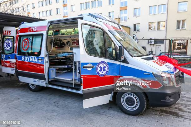 New Mercedes Sprinter ambulance interior with rescue stretcher defibrillator and other medical equipment is seen in Gdynia Poland on 21 February 2018...