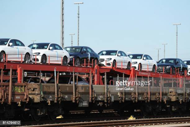 New MercedesBenz cars stand on the beds of a freight train at Hamburg Port on July 14 2017 in Hamburg Germany German media Sueddeutsche Zeitung WDR...