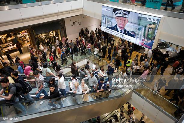New Met police commissioner Bernard HoganHowe and Londoners inside during the opening day of the Westfield Stratford shopping mall Situated on the...