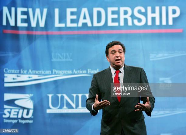 New Mexico Gov Bill Richardson a Democratic presidential candidate speaks during a health care forum at the Cox Pavilion at UNLV March 24 2007 in Las...