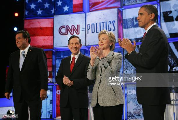 New Mexico Gov Bill Richardson US Rep Dennis Kucinich US Senator Hillary Clinton and US Senator Barack Obama are introduced during a Democratic...