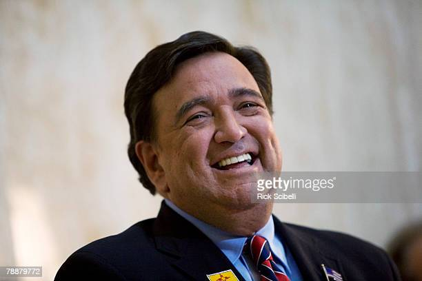 New Mexico Governor Bill Richardson laughs during a press conference in the capital rotunda January 10 2008 in Santa Fe New Mexico Richardson...