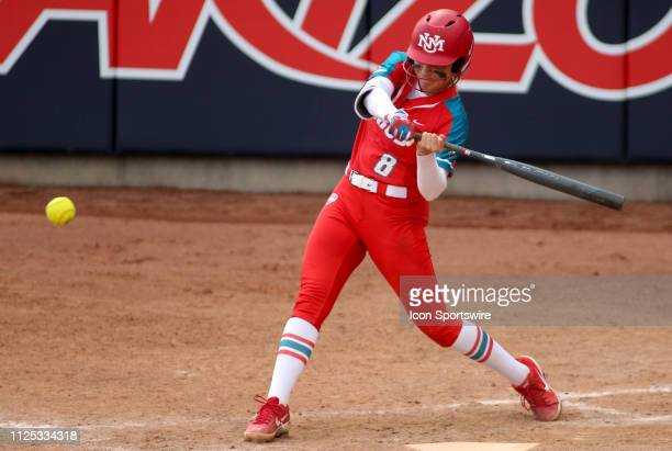 New Mexico Lobos first baseman Bailey Klitzke swings at the ball during a college softball game between the Alabama Crimson Tide and the New Mexico...