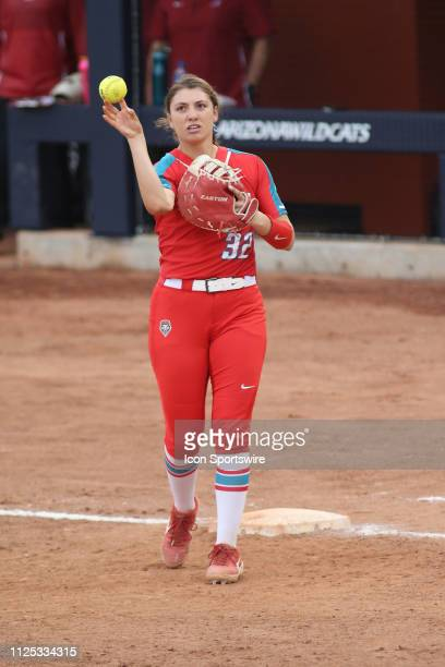 New Mexico Lobos first baseman Lauren Wilmert throws the ball during a college softball game between the Alabama Crimson Tide and the New Mexico...