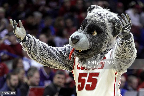 New Mexico Lobos mascot cheers against the Stanford Cardinal during the second round of the 2014 NCAA Men's Basketball Tournament at Scottrade Center...