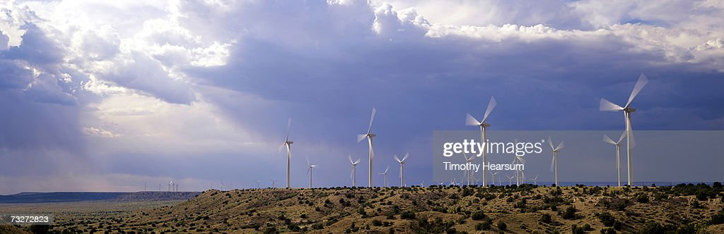 """USA, New Mexico, near Fort Sumner, wind generators on mesa"" : Stock Photo"