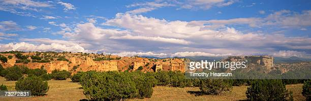 'USA, New Mexico, near Truchas, rock formations with juniper and pinon pines'