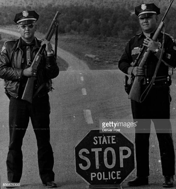 New Mexico New Mexico State Police and the occupants of questioned Two New Mexico State Policemen Man Roadblock on U S 84 West of Canjilon During the...