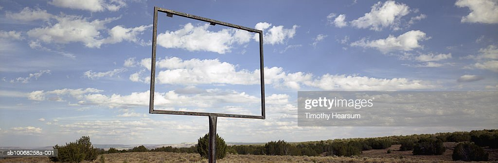 USA, New Mexico, Open sign frame in desert : Stock Photo