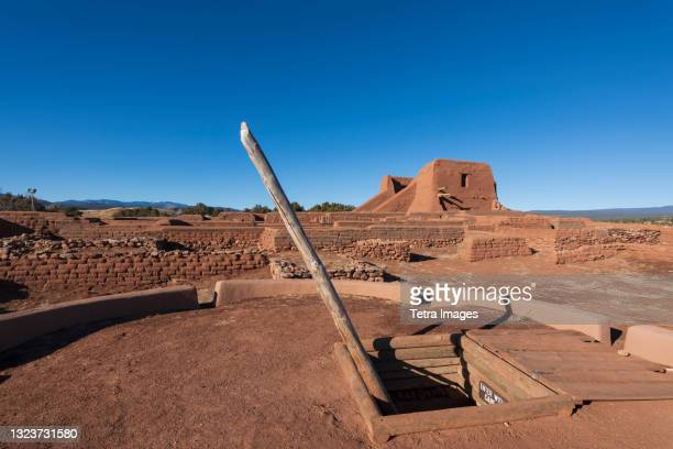 usa, new mexico, pecos, spanish mission church ruins at pecos national historical park - pueblo built structure stock pictures, royalty-free photos & images