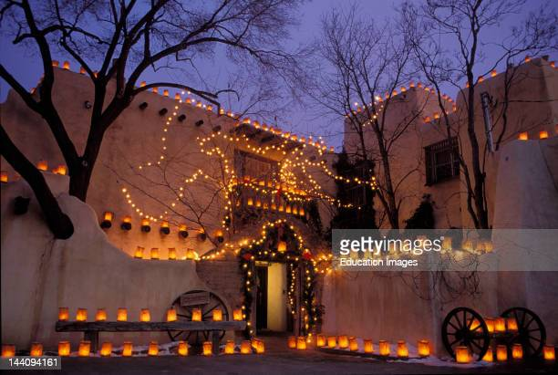 New Mexico Sante Fe Fenn Gallery With Farolito Lights For Christmas