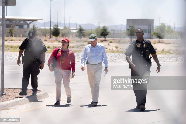 New Mexico Senator Tom Udall is pictured exiting Tornillo Port of Entry after visiting the detention encampment for children separated from their...