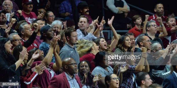 New Mexico State Aggies fans celebrate during the championship game of the Western Athletic Conference Basketball tournament against the Cal State...