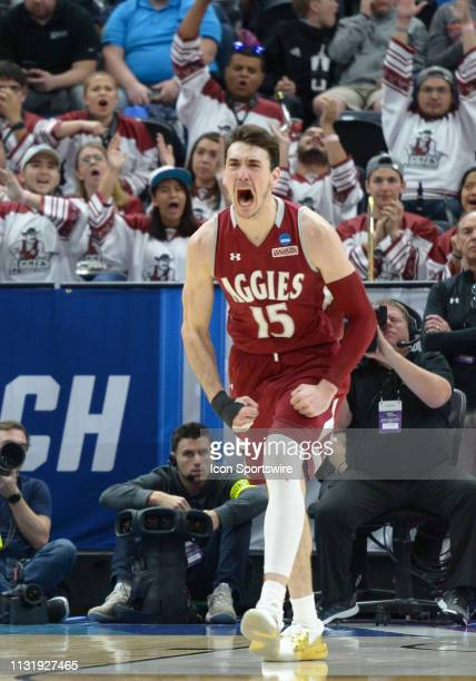 New Mexico State Aggies forward Ivan Aurrecoechea reacts after scoring during a game between the Auburn Tigers and the New Mexico State Aggies on...
