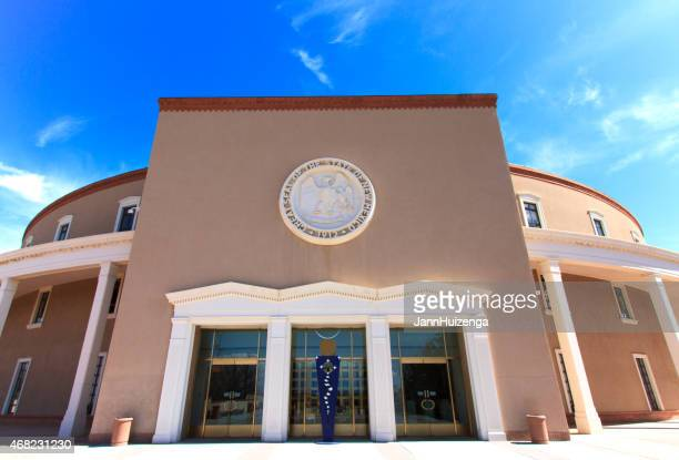 new mexico state capitol building, santa fe, nm - capital cities stock photos and pictures